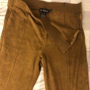 Velvety pants with side zipper